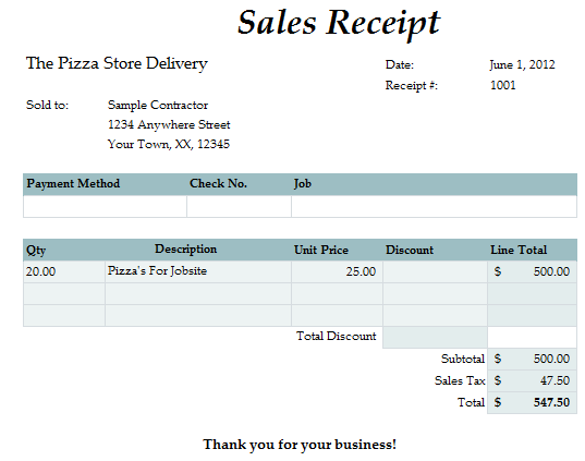 Fast Easy Accounting Bookkeeping Services Example Employee Meal Receipt