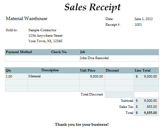 Fast Easy Accounting Bookkeeping Services Example Material Receipt