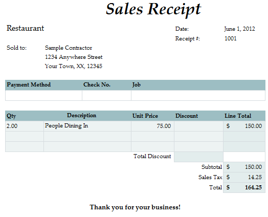 Fast Easy Accounting Bookkeeping Services Example Meal Receipt