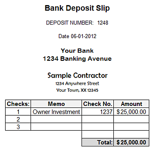 Fast Easy Accounting Bookkeeping Services Example Owner Bank Deposit