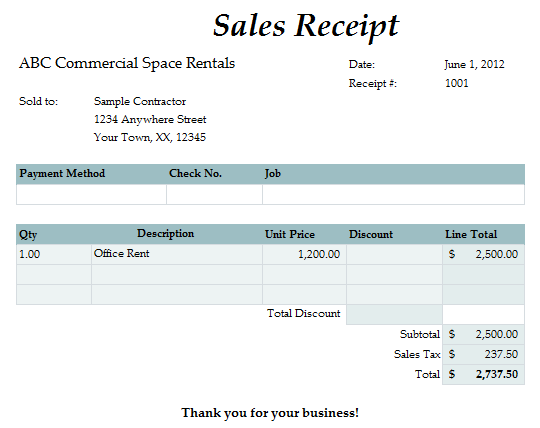 Fast Easy Accounting Bookkeeping Services Example Rent Receipt