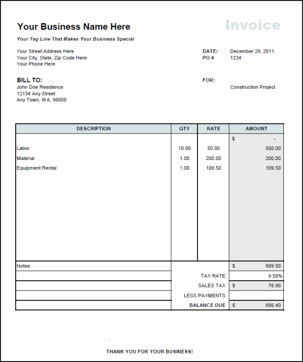 Fast Easy Accounting Invoice Showing Equipment Rental Sales Tax