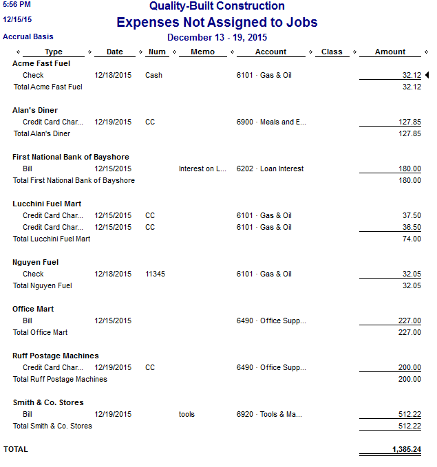 Fast Easy Accounting QuickBooks Expenses Not Assigned To Jobs Report