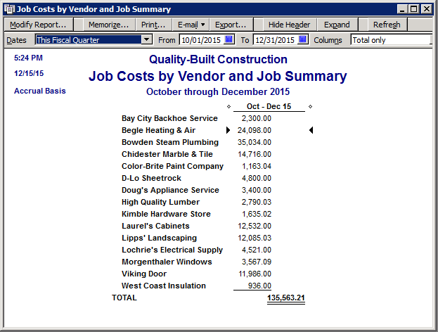 Fast Easy Accounting QuickBooks Job Cost By Vendor And Job Summary Report