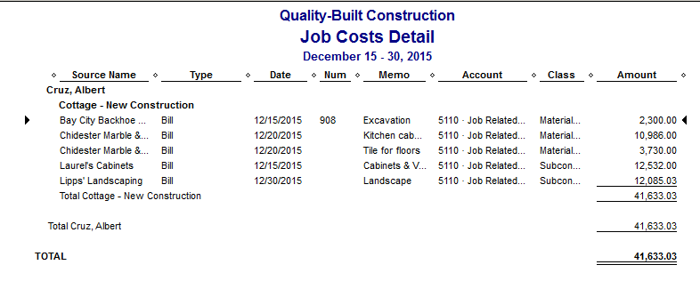 Fast Easy Accounting QuickBooks Job Costs Detail Report