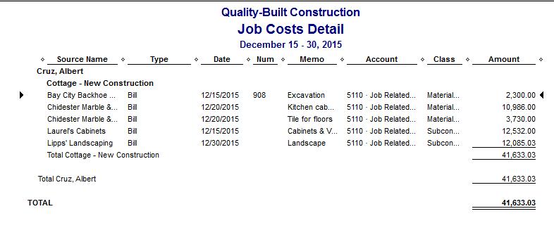QuickBooks Job Costs Detail Report