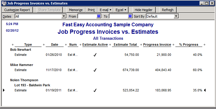 Fast Easy Accounting QuickBooks Job Progress Invoices Vs Estimatesl Report