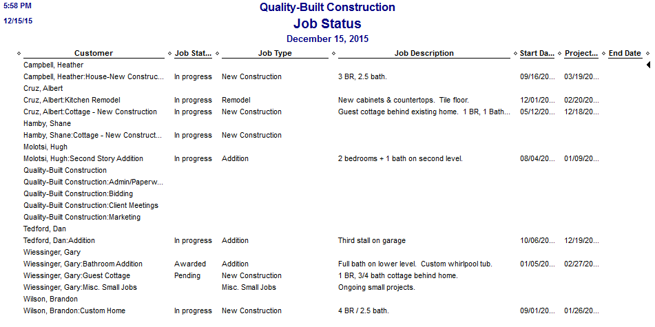 Fast Easy Accounting QuickBooks Job Status Report