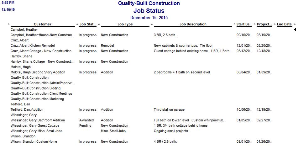 QuickBooks Job Status Report