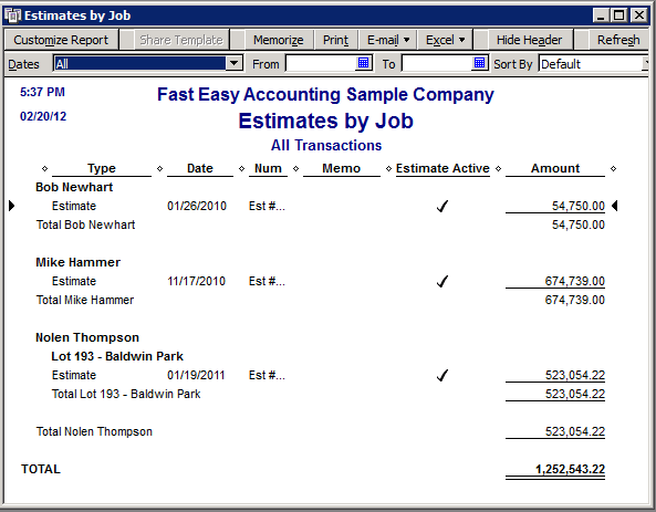 Fast Easy Accounting Uses QuickBooks Estimates By Job Report