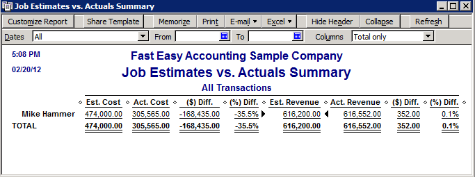 Fast Easy Accounting QuickBooks Job Progress Invoices Vs Estimates