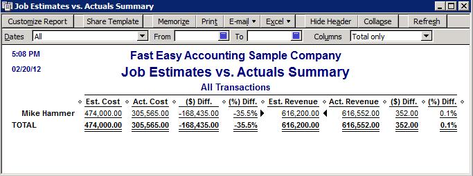 Fast Easy Accounting QuickBooks Job Progress Invoices Vs Estimates