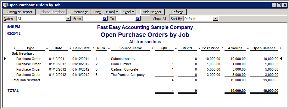 Fast Easy Accounting Uses QuickBooks Open Purchase Orders By Job