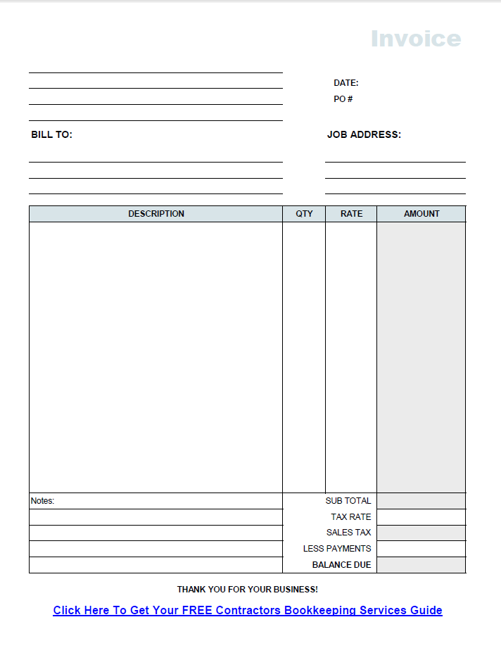 Free Contractor Invoice Template On Excel - Construction invoice template word online clothing stores for men
