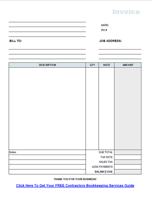 Free Invoice Template From Fast Easy Accounting