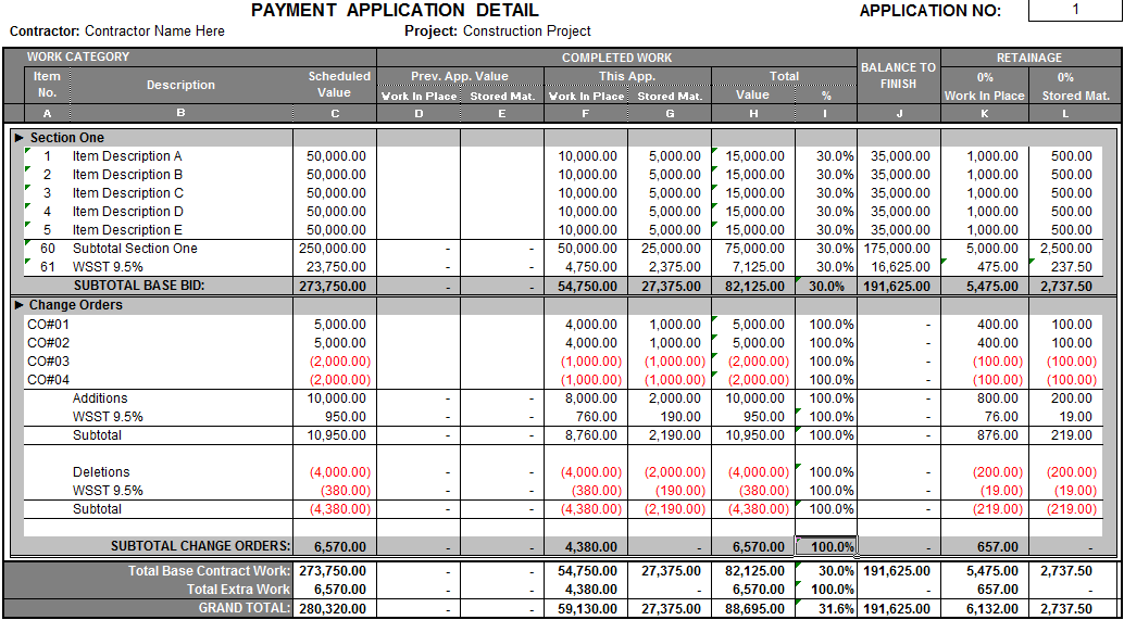 Pay Application Detail Sample Fast Easy Accounting