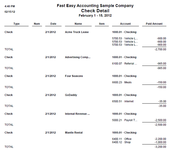 QuickBooks Check Detail Report From Fast Easy Accounting