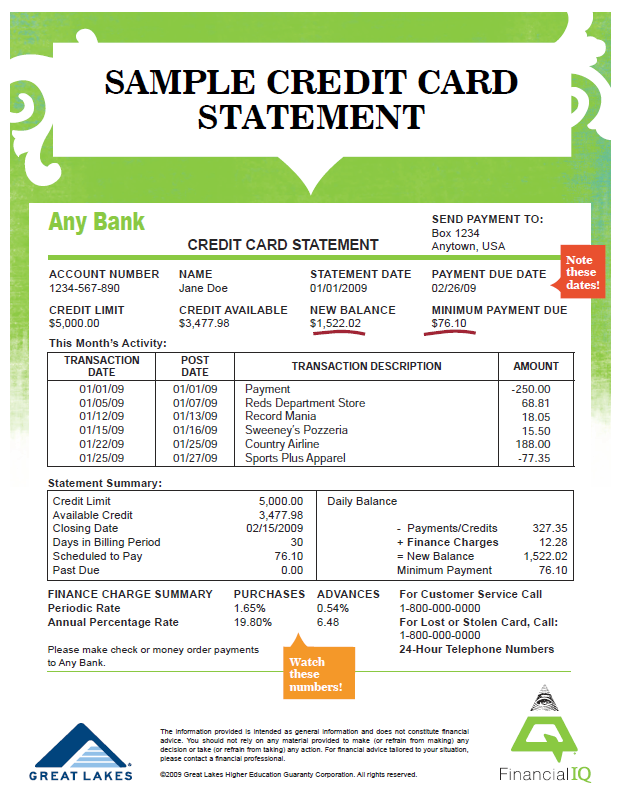 Sample Credit Card Statement