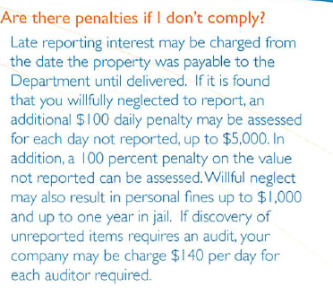Washington State Department Of Revenue Unclaimed Property Penalties