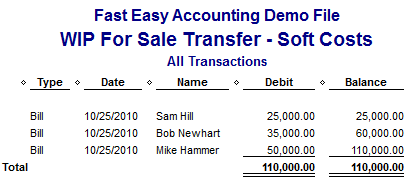 Fast Easy Accounting 206-361-3950 Work In Progress W.I.P. Soft Costs Report QuickBooks For Contractors