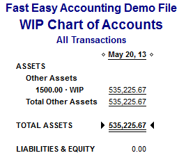 Fast Easy Accounting 206-361-3950 Work In Progress Chart Of Accounts Report QuickBooks For Contractors