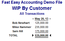 Fast Easy Accounting 206 361 3950 Work In Progress By Customer Costs Report QuickBooks For Contractors