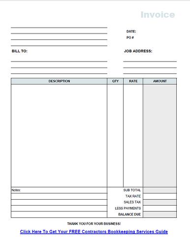 Free Contractor Invoice Template PDF – Contract Invoice Template