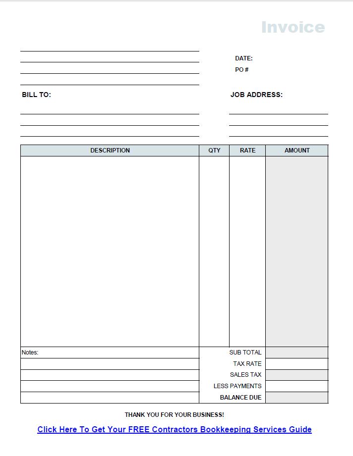 Free Contractor Invoice Template Pdf