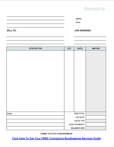 Free Contractor Invoice Template PDF - Construction invoice form free for service business
