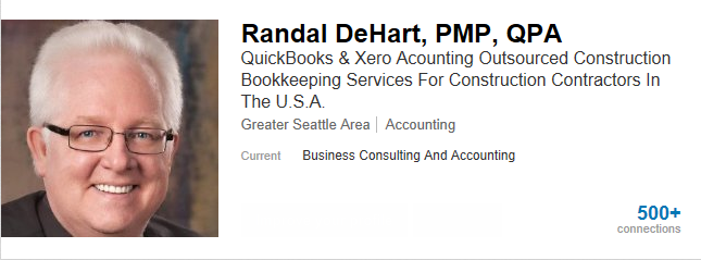 Fast Easy Accounting 206-361-3950 Contractors Bookkeeping Services Randal DeHart Linked In Profile
