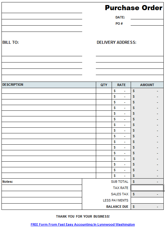 Free Contractor Purchase Order Form On Excel From Fast Easy Accounting 206  361 3950  Purchase Order Format In Excel