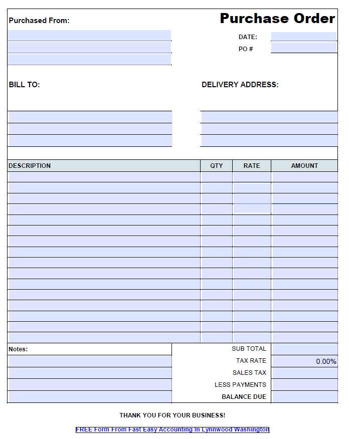 Free Contractor Purchase Order Form On Excel From Fast Easy Accounting 206 361 3950
