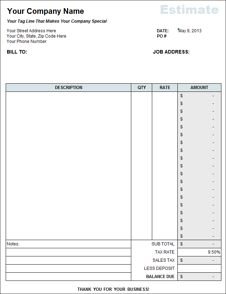 Free Estimate Template From Fast Easy Accounting