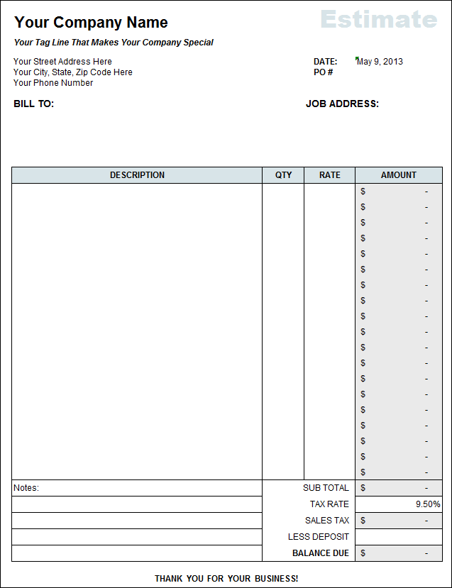 Free Contractor Estimate Template Excel
