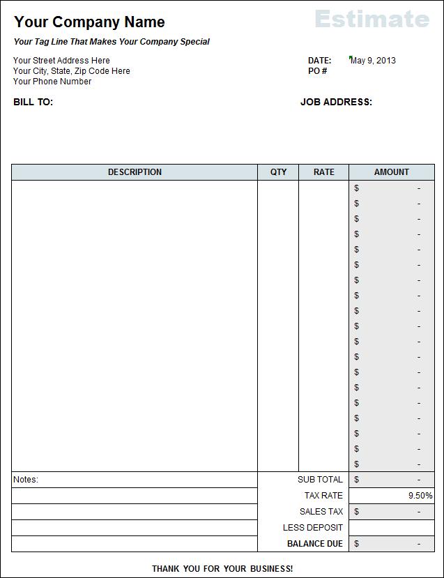 contractor estimate sheet
