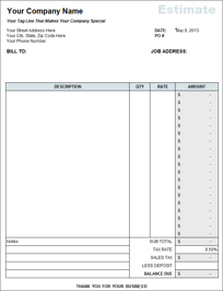 contractor s estimate template goal goodwinmetals co