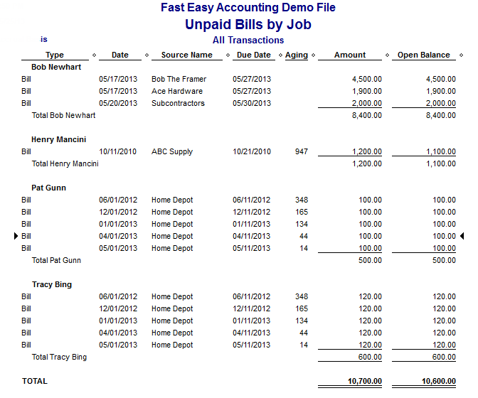 Fast Easy Accounting Job Costing Report Unpaid Bills By Job