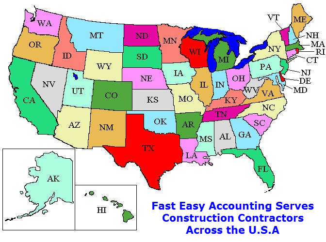 Outsourced Construction Accounting Services For Contractors All Across The U.S.A. By Fast Easy Accounting 206-361-3950