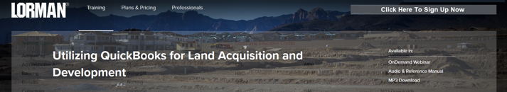 Lorman-Class-Utilizing-QuickBooks-for-Land-Acquisition-and-Development