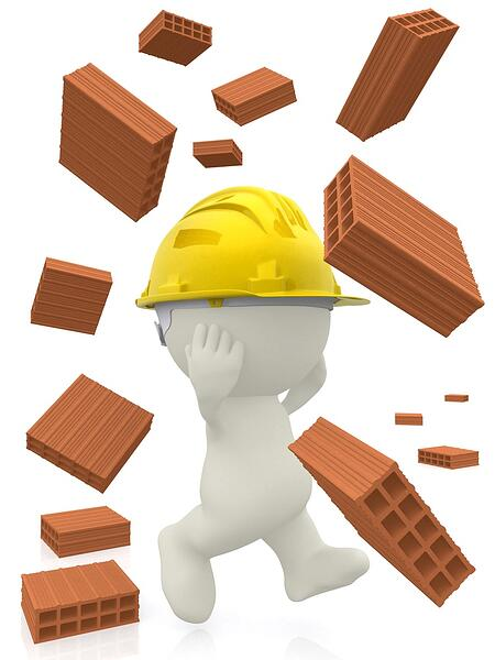 3D construction worker with bricks falling - isolated over a white background