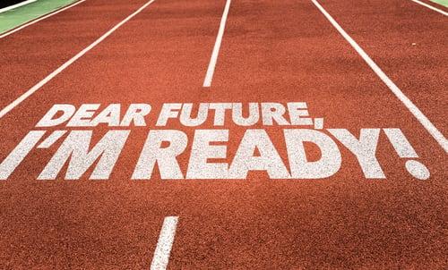 Dear Future, Im Ready written on running track