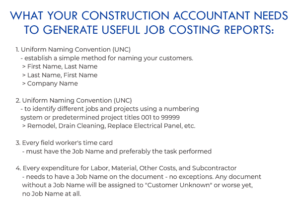 What Your Construction Accountant Needs For Job Costing